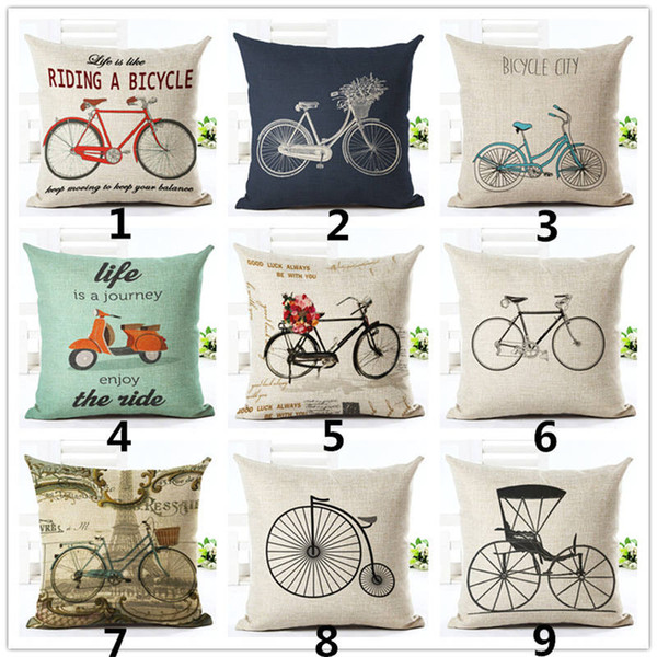 Natale Vintage Bicycle Linen Square Cuscini decorativi Coprisedili Cuscino Divano letto Caso Cuscino Home Decor 45x45cm