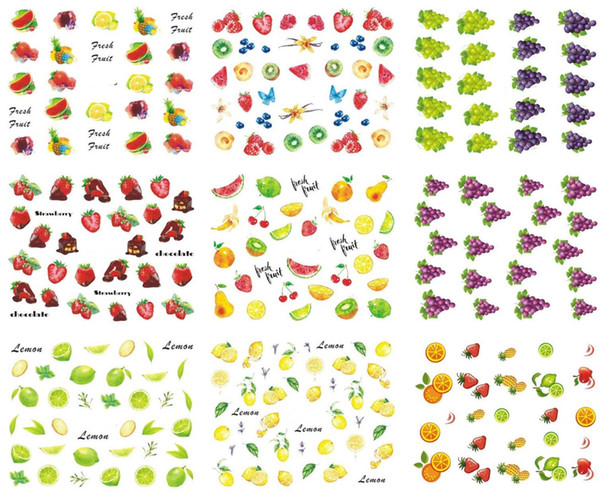 18 Sheets Nail Stickers Fruit/Ice cream Designs Water Transfer Nail Art Sticker Watermark Decal DIY Decoration Tools MZ0072