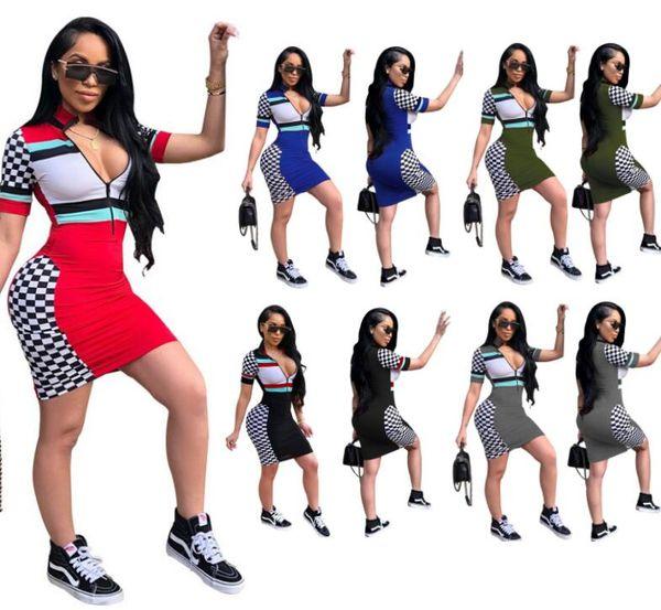 Femmes d'été multicolore Mini robe col montant demi-fermeture à glissière imprimer Trendy Sexy Club jupe pour fille boîte de nuit stretch robes moulantes ML93
