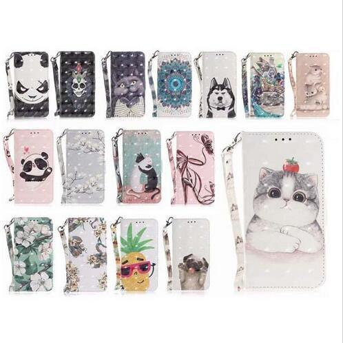 3D Cute Flower Dog Panda Wallet flip PU Leather Covers Cases with Strap for iphone X XS Max XR 8 7 6 6S Plus Samsung S8 S9 Plus Note 8 9