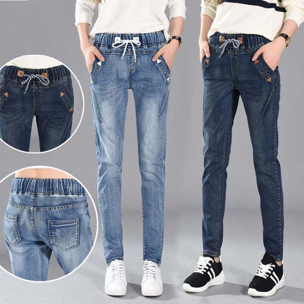 top popular Jeans Woman Lace Up Boyfriend Jeans Women Harem Pants Stretch Jeans Femme Long Pants Denim Trousers Women C4532 2020