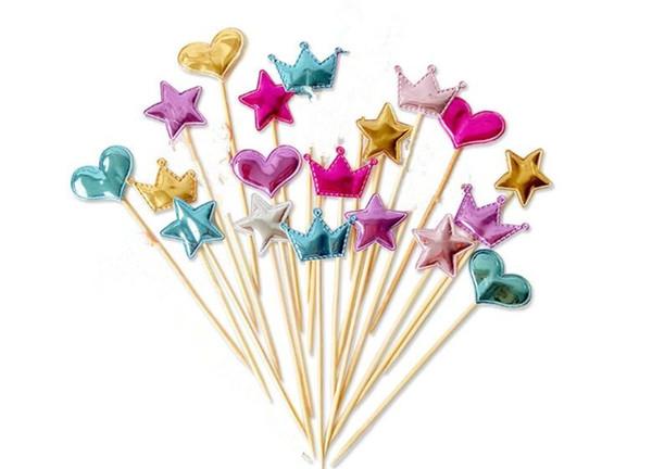 5 adet / grup için güzel kalp yıldız taç kek topper doğum günü kek bayrağı bebek duş parti düğün dekorasyon malzemeleri C235
