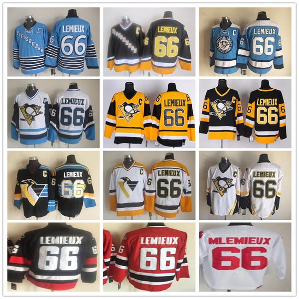 Дешевые Vintage # 66 Марио Лемье Урожай CCM Золото Желтый Черный Белый Питтсбург Пингвины Хоккейные Jerseys 100% сшитые Бесплатная доставка