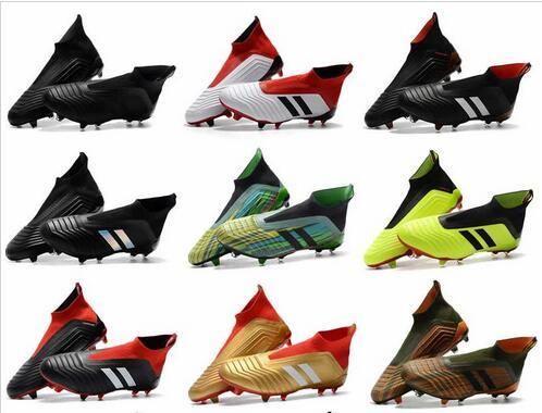 Meilleure Qualité Haut Haut Predator 18.1 Football Bottes Chaussures En Cuir Extérieure Predator 18 FG Bottes De Football Chaussettes Soccer Crampons Hommes US 6.5-11.5