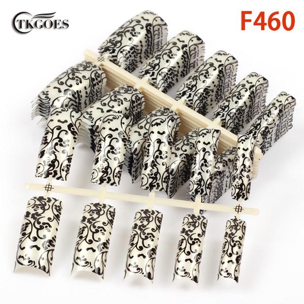 TKGOES 50pcs Half Pre Designed Nail Tips Classical Strips patterns half cover fake nail tips art salon F460-50