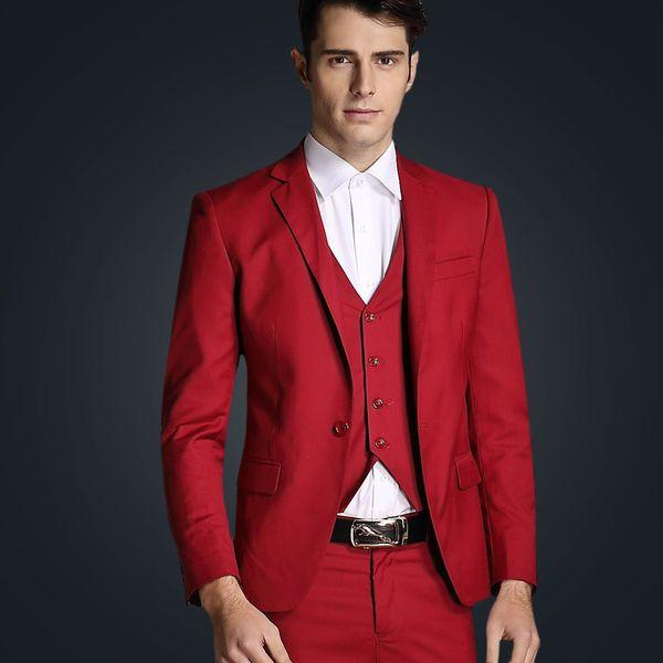 Custom Red Men Suits for Wedding 3 Piece Groomsmen Suits Skinny Groom Tuxedos Formal Slim Fit Male Blazer Jacket+Pants+Vest