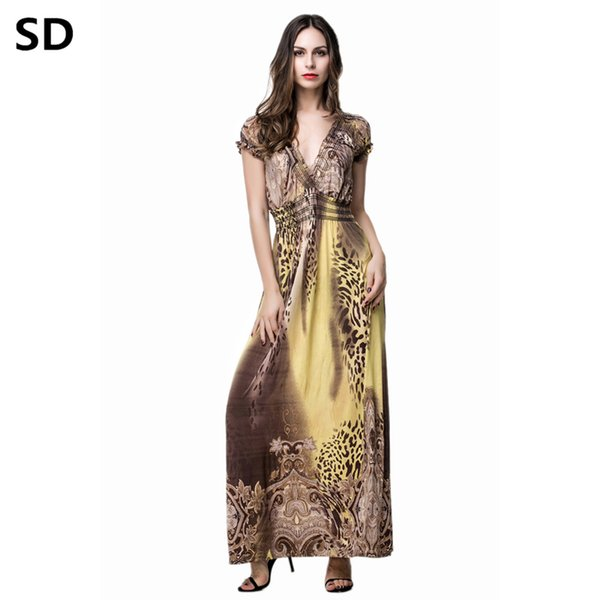SD 2018 New Arrivals long club Robe for women maxi dresses plus size Floral Print Boho Beach Dress Ladies Elegant Vestidos W77