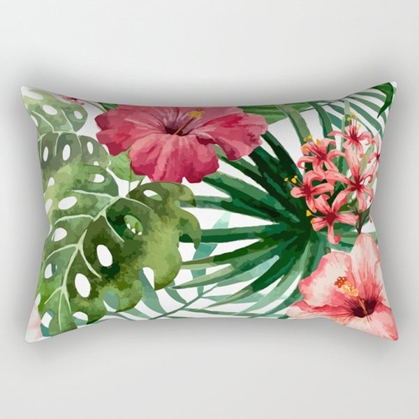 Hot sale Tropical many kinds of fresh flowers pretty floral pattern men women rectangle pillow case pillowcases top tees