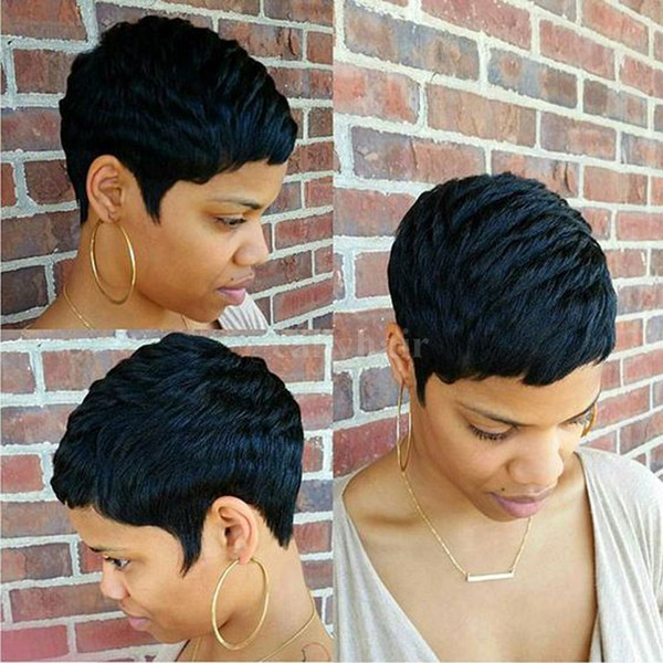 Human Short Hair Glueless Wig With Bangs Cheap Pixie Cut African American Wigs Short Bob Cuts Full Hair Lace Wig For Black Women
