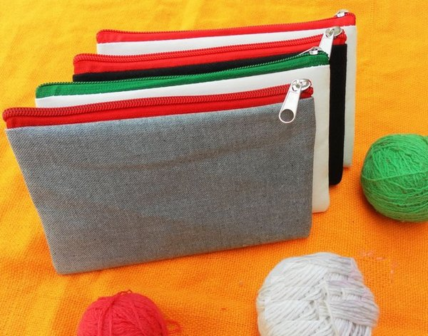 Girls white pure cotton canvas cosmetic Bags DIY women blank plain zipper makeup bag phone clutch bag Gift organizer cases pencil pouches