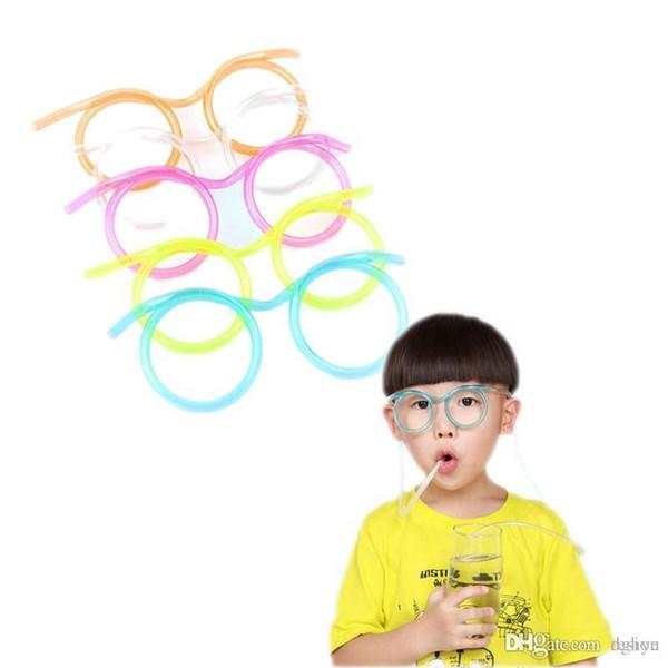 eccd39ce11d2 Wholesale-1pc DIY Straw Children's Cartoon Cute Fun Wacky Glasses Straw  Toys Household items Drinkware
