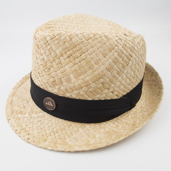 Nature Raffia Grass Straw Hats men and womens Black Stingy Brim Fedora Jazz Hat for Holiday beach vacation EPU-MH1833