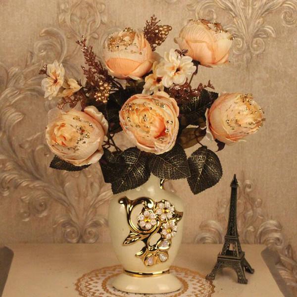 European Ceramic Vase Phnom Penh Ice Silk Luxury Peony Home Furnishing Crafts Fake Flower Ornament Diningroom Table Figurines