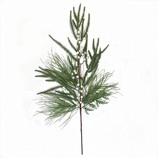 1pc/lot Hot Sale Decorative Christmas Tree Branch Artificial White Berry with Leaves Branch Free Shipping
