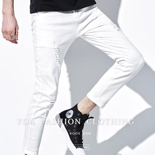 HOT 2016 intérieur Designer Hommes Jeans Automne Straight Grey Hommes Vintage Skinny Denim Adolescents Garçons Hip Hop Salopette Déchiré Trou Hommes