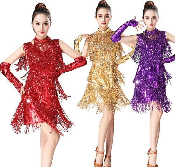 Sexy Sequin Fringe Dress Latin fringe dress Latin dance dress Red purple green black gold silver rose red black silver sapphire blue