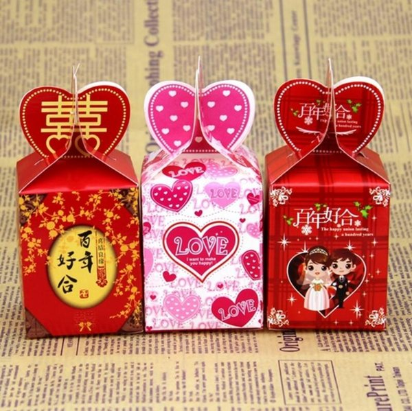 Chinese Style Pink Heart Love Wedding Paper Gift Jewelry Candy Box Party Gift Packaging Supplies LX3425