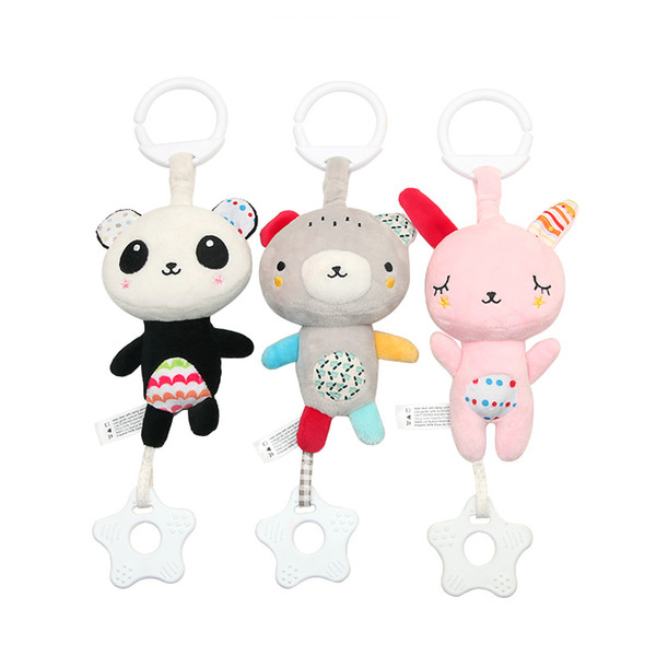 Baby Multi-function Bear Rabbit Teether Pendant Plush Movement Sound Music Toy Foreign Trade Car Hanging Bed Hanging