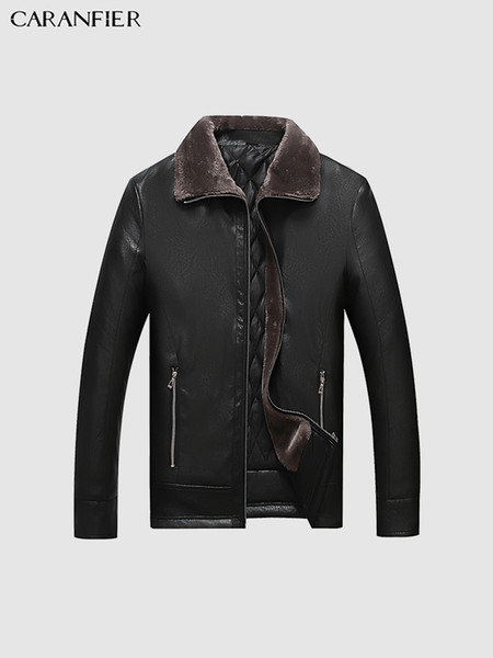 Mens Leather Jacket Winter Warm Plus Velvet Thick Overcoat High Quality Business Outerwear Solid Fur Collar Male Coats