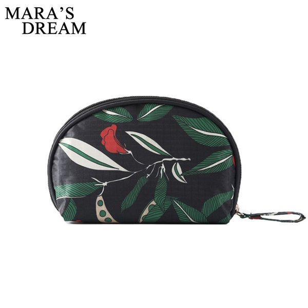 Mara's Dream Floral pattern Shell Cosmetic Bag Semi-circle Cosmetic Cases Portable Storage Bag Make up Toiletry Travel Bags
