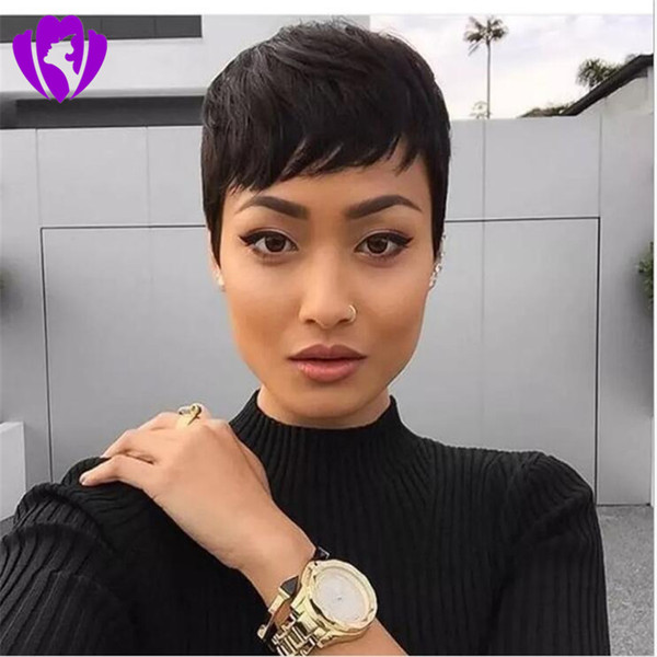 New rihanna style Synthetic Black Wig with Bangs Short Wigs for Women Dark Brown /blonde /Natural Hair Cosplay Wigs