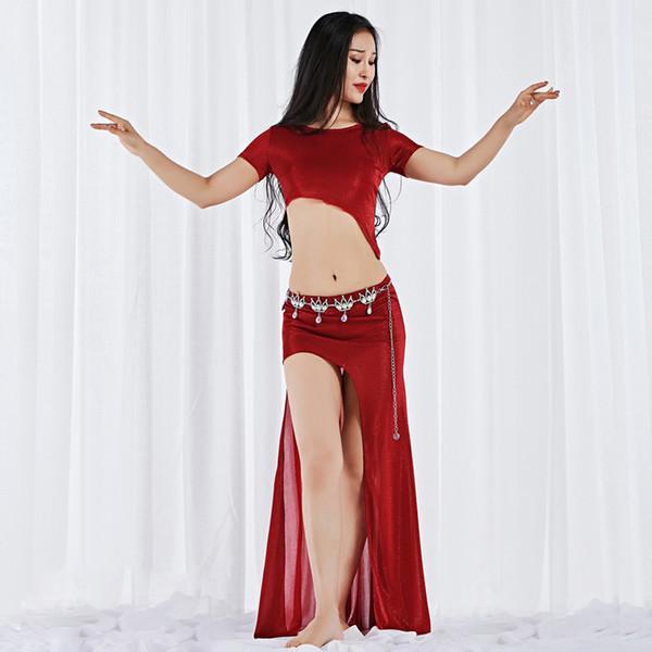 New Style Women Dance Wear Girls Belly Dance Costume Long Maxi Skirt Side Slit Outfit Elastic Sparkles Asymmetrical Dresses