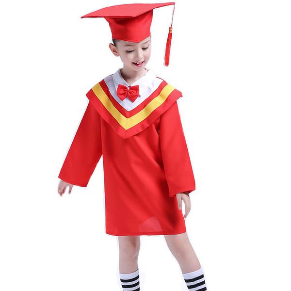 Graduated Suit Kinder Akademisches Kleid für Mädchen Jungen Dr. Cloth Graduierten Bachelor Anzug Dr. Cap Kid Schuluniform Für Jungen Mädchen
