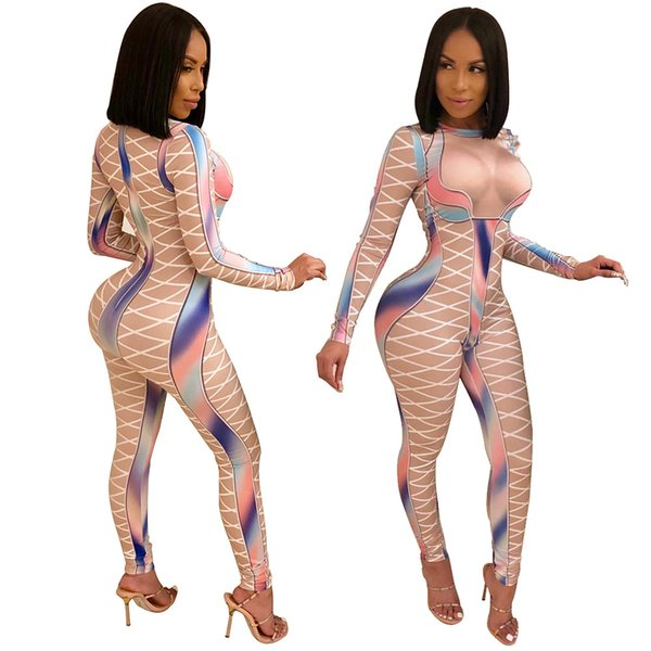 Women Geometric Print One Piece Skinny Jumpsuit Sexy Women Full Sleeve Long Pant Overalls Plus Size Oufit Rompers 2XL