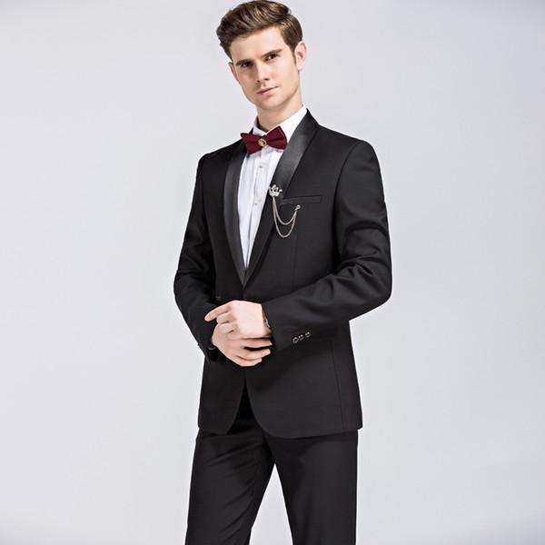 2018 Yeni siyah Erkek Takım Elbise Ceketler + Pantolon S M L XL 2XL 3XL 4XL Moda Düğün Ziyafet Erkekler En Ince Giysiler SOL ROM