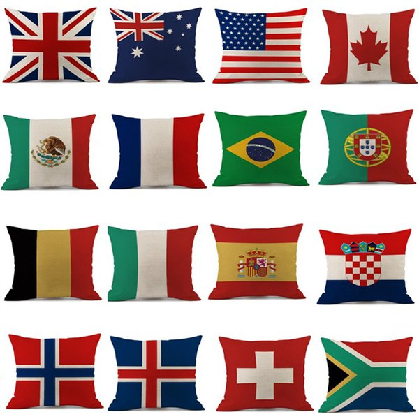 Pillow Case 45*45cm 2018 Russia World Cup Home Decor National Flag Throw Cushion Cover Soccer Pillow Covers