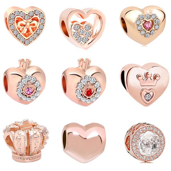 2018 новый бесплатная доставка европейский Moq20 шт. розовое золото сердце корона принцесса diy ювелирных изделий маркировки большое отверстие шарик fit pandora браслет d028
