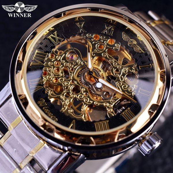 Orologio da uomo in oro trasparente Orologi Top Brand Luxury Orologio da uomo maschile Relogio Orologio casual Montre Homme Orologio da scheletro meccanico D18101002