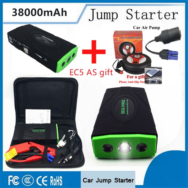 Mini Best Selling Products 38000mAh Battery Charger Portable Power Bank Mini Car Jump Starter with Car inflatable pump