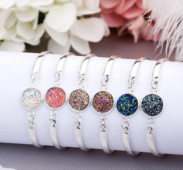 New arrival Selling silver heart bracelet multicolor crystal love bracelet natural stone jew mix order