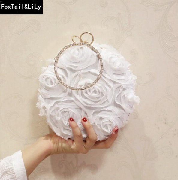 Factory brand women bag fashion three dimensional flowers wedding dress Bao Shunv Gong Tingfan lace flowers banquet round bag and chain bag