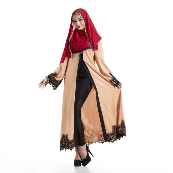 Muslim New Ladies Solid Color Simple Muslim Retro Robe Women Cardigan Robes Lace Loose Palace Wind