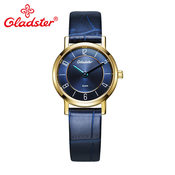 Gladster Fashion Japan MIYOTA 5Y20 Golden Women Clock Genuine Leather Quartz Wrist Watch Luxury Brand Couple Watch for Woman