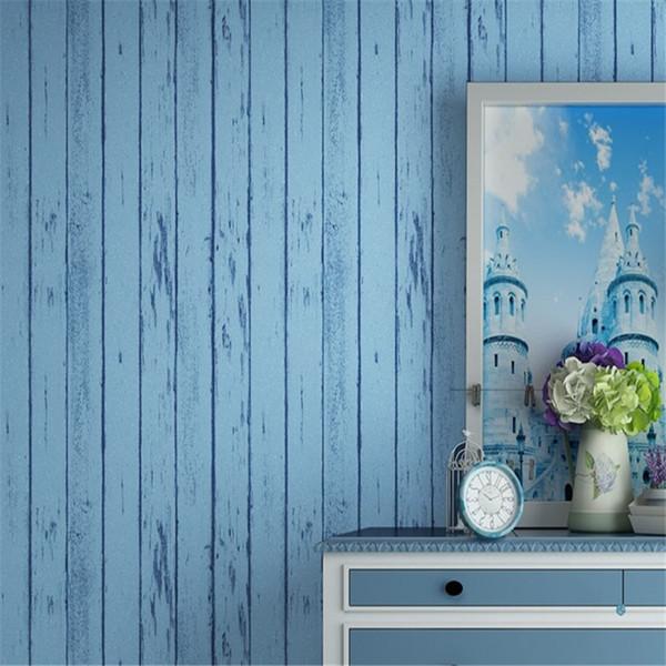 Estilo mediterráneo, moderno, minimalista, a rayas, no tejido, autoadhesivo, papel tapiz, sala de estar, decoración del hogar, papel pintado