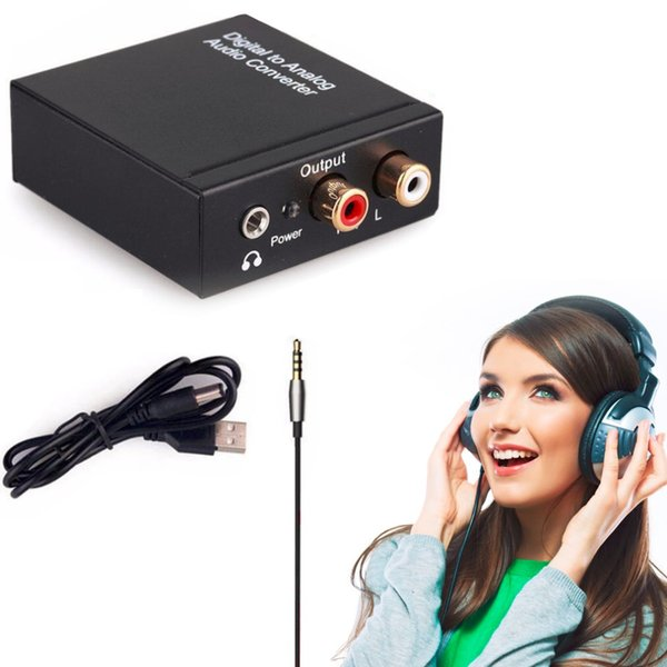 Freeshipping Digital Coaxial Toslink Optical to Analog L/R RCA Audio Converter Adapter 3.5mm With A USB Power Cable High Quality!