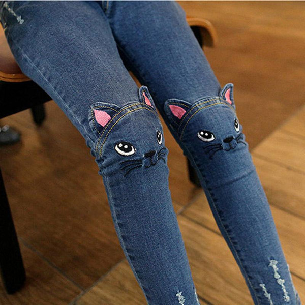 Cute Cartoon Pattern Kids Jeans Winter Autumn Lovely Cat High Quality Children Pants Casual trouses Baby Girls Jeans