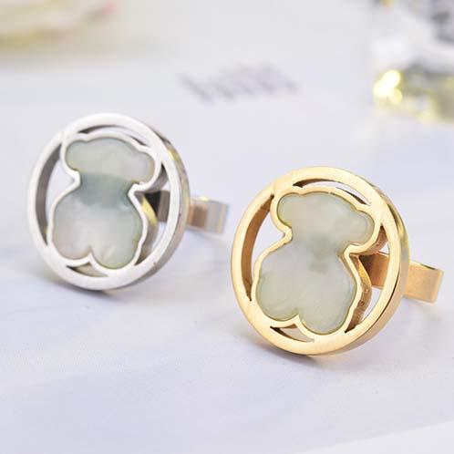 High quality Stainless Round Gems pink quartz white stone Rings Size 6.7.8.9 cute bear silver gold plated wide band Women Men wedding rings