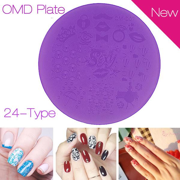 Venta al por mayor- Nuevo plástico púrpura Nail Art Stamping Plates 7cm Polaco Diseño Imprimir Stencil DIY Pedicura Nail Herramientas de la plantilla 2016 Caliente
