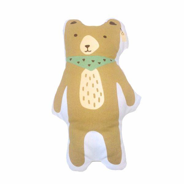New Brown Bear Pillow Canvas Cushion Baby Room Decor Child Stuffed Soft Cotton Kids Bedding Hot Children Gift 1pcs