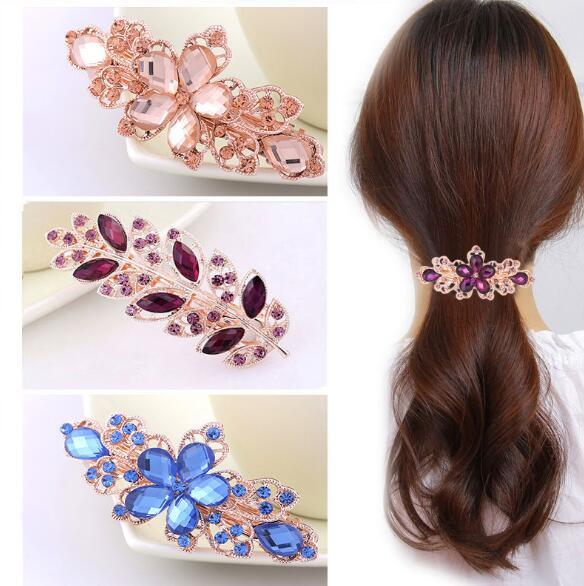Wholesale - Explosion Barrettes models crystal hairpin diamond spring ponytail Hair Clips rose hairpin hot hairpin for women & girl gift
