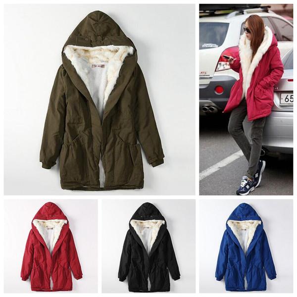 Women Fur Hooded Parkas Coats 4 Colors Adjustable Waist Long Outwear Casual Warm Girls Down Coats Jackets 20pcs OOA5877