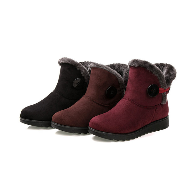 2018 Hot Shoes Women Boots Solid Zipper Soft Cute Women Snow Boots Round Toe Flat with Winter Fur Ankle