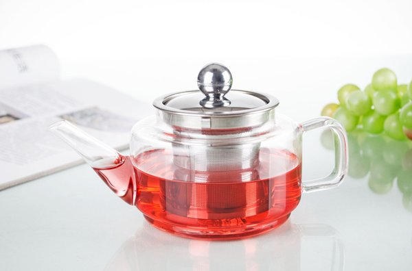 Tea Pot BY-10fl.oz 300ml Pyrex Glass Coffee Water Tea Pot Heat-Resisting Clear Glass Flower Teapot with Stainless steel Infuser and Lid