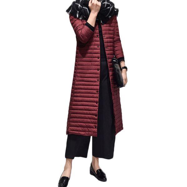 Long Thin Slim Duck Down Jacket Women Park Women 2018 New Autumn and Winter Long Sleeve Down Jacket Winter Coat EV214