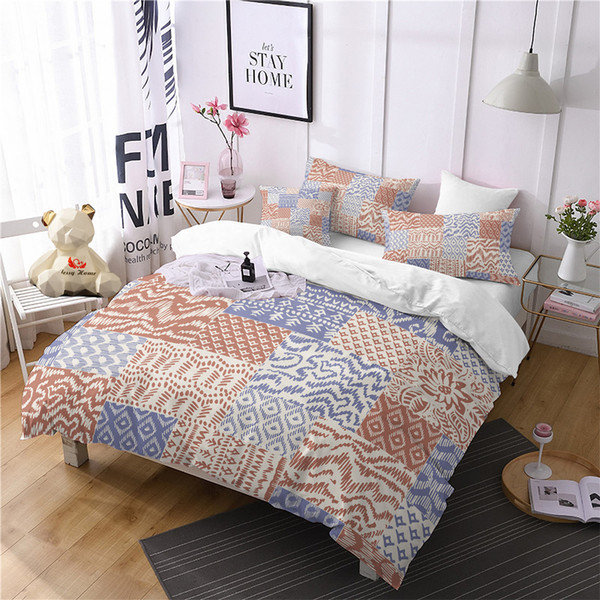 Ethnic Yellow Comforter Bedding Sets Blue Duvet Cover Set Queen Plaid King  Size Bedding Set 3D Home Textile Bed Linen Duvet Covers Black And White