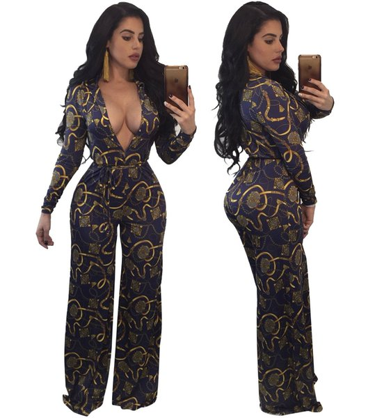 Autumn National Dashiki Print Wide Leg Leotard Sexy Deep V Neck Belted Long Jumpsuit Plus Size Women One Piece Outfits Rompers